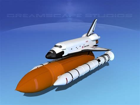the challenger launch space shuttle challenger launch mp 2 1 3d model rigged max