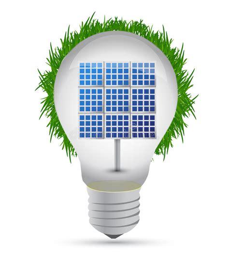 eco lightbulb and solar panel royalty free stock image