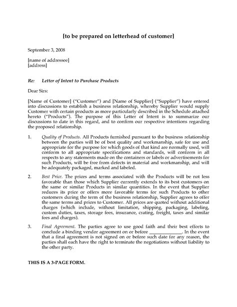 Letter Of Intent For Business Supplier Letter Of Intent To Purchase Products Forms And