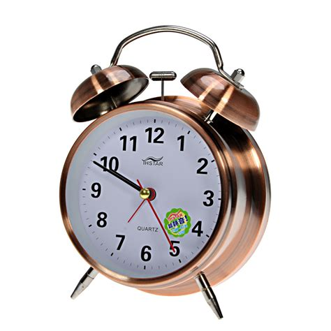 desk alarm clock classic vintage style metal dual bell ring design alarm