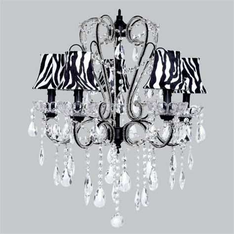 Zebra Chandelier Five Arm Whimsical Beaded Chandelier In Black With Zebra Bell Shades
