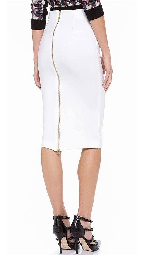 5th mercer white pencil skirt with zipper has the