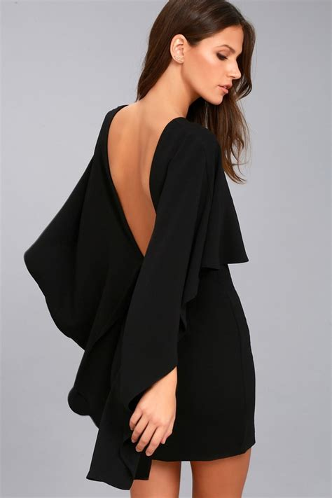 best black dress chic black dress backless dress lbd cape dress