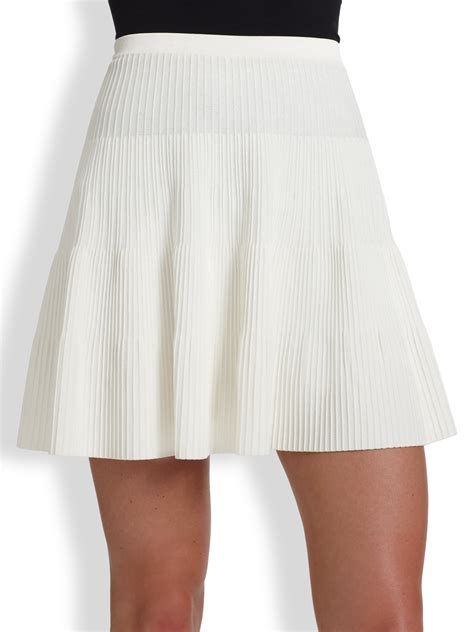 ralph black label pleatrib mini skirt in white