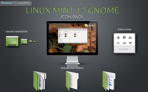 themes for windows 7 linux linux mint 12 gnome icon pack for windows 7 by rudeboyses