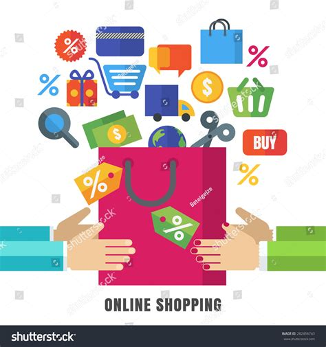 design retail online abstract vector background hands shopping bag stock vector