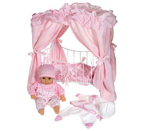 doll canopy bed lissi 18 quot baby doll w canopy bed extra outfit qvc com