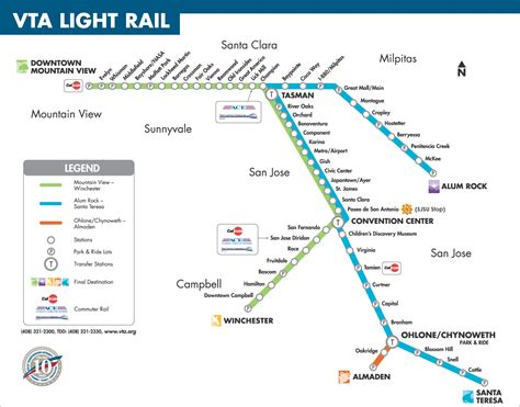 vta light rail map vta light rail