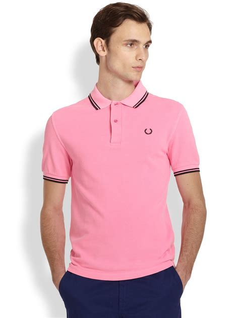 Kaos Fred Perry Collection fred perry acid hue polo in pink for lyst
