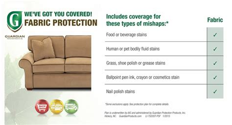 Guardian Furniture Protection by Guardian Fabric Upholstery Stain Protection