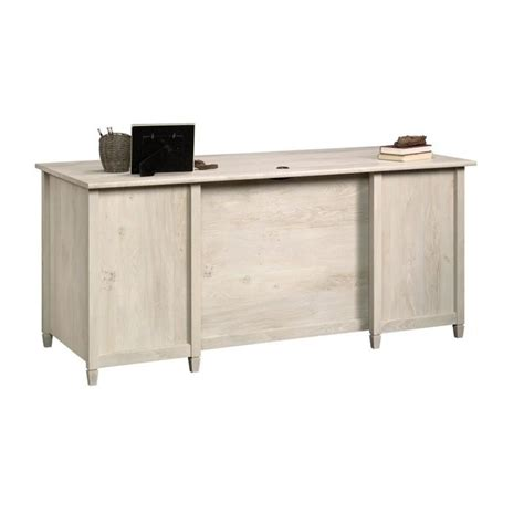 sauder edge water executive desk in chalked chestnut executive desk in chalked chestnut 418795