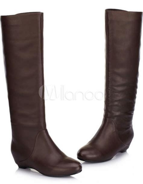 brown 1 1 5 heel flat cowhide fashion knee high boots