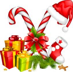 Santa hat gifts and candy canes christmas decoration cliparts co