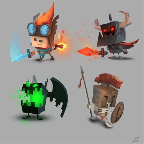 design game art retro 3d picture 2d cartoon 3d characters retro