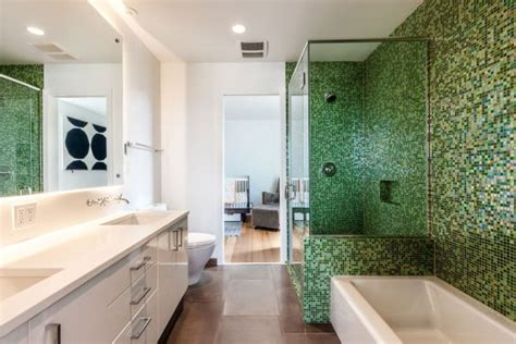 Green And White Bathroom Ideas by Modern Aurea Home In Seattle Blends Bright Interiors And