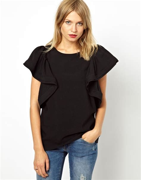 Ruffle Sleeve Shoulder Top shell top with dramatic ruffle sleeve