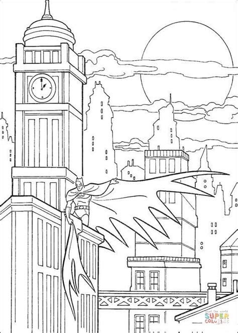 coloring book page of a city batman in gotham city coloring page free printable