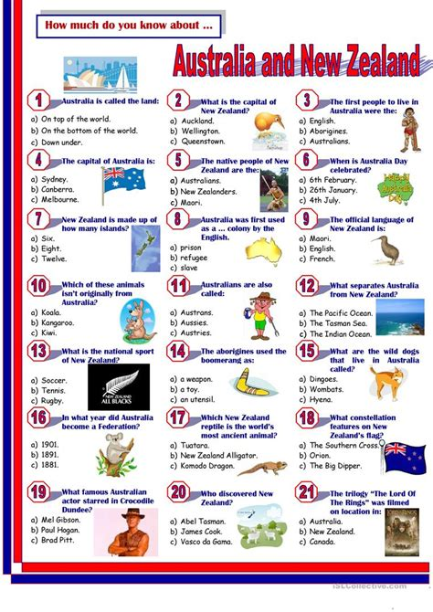 Australia New Zealand Quiz Worksheet Free Esl | australia new zealand quiz worksheet free esl