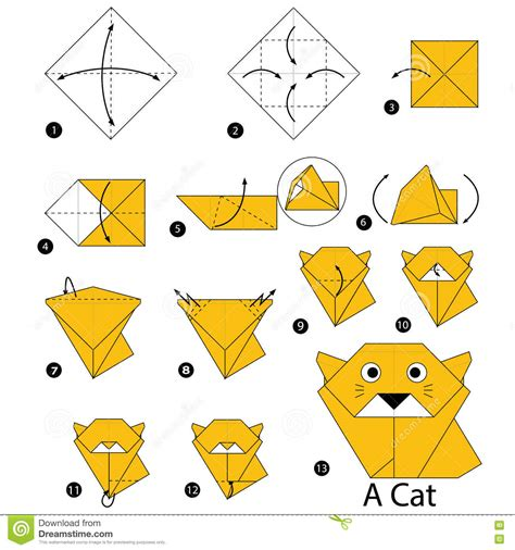 How To Do Origami Cat - step by step how to make origami a cat stock