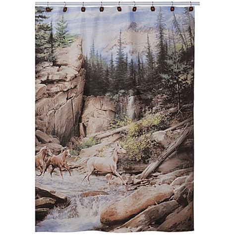 horse shower curtains sale horse canyon fabric shower curtain bed bath beyond