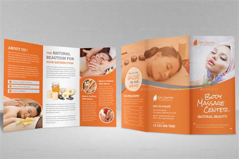 spa beauty salon trifold brochure template by