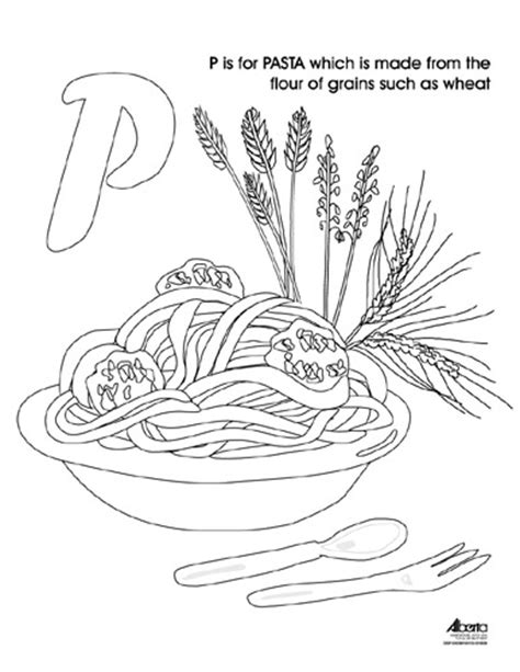 free coloring pages of pasta spaghetti