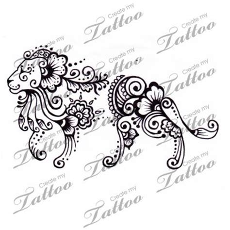 henna lion tattoo marketplace henna 1204 createmytattoo
