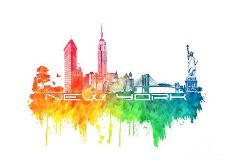 color nyc new york city skyline color digital by justyna jbjart