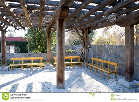 wooden overhang with benches stock photos image 37039993