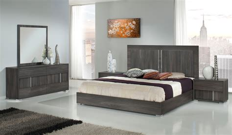 Bedroom Furniture Contemporary Modern Modrest Luca Italian Modern Grey Bedroom Set