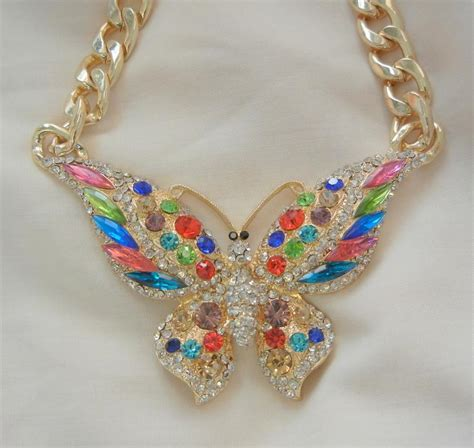 Acc548 Necklace Colorfull Big gorgeous large colorful rhinestone butterfly bold link necklace from vintageshari on ruby