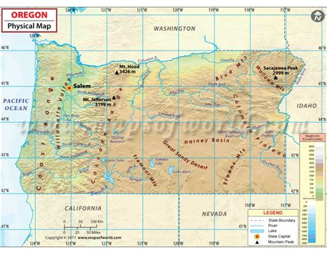 a physical map of oregon buy physical map of oregon