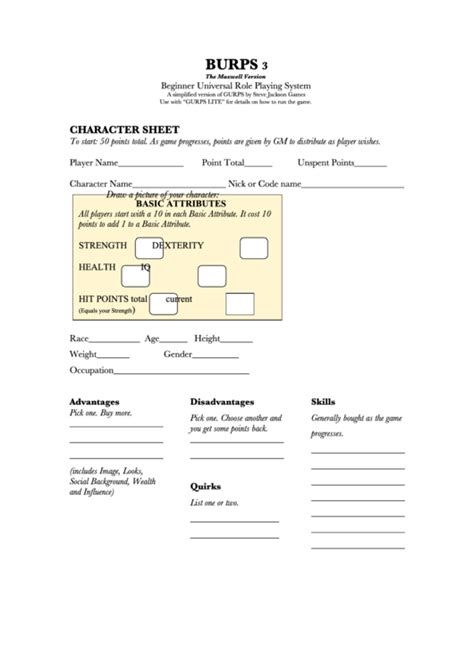 gurps npc character card template gurps character sheet printable pdf
