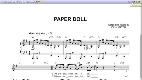 Paper Song - mayer paper doll piano sheet teaser