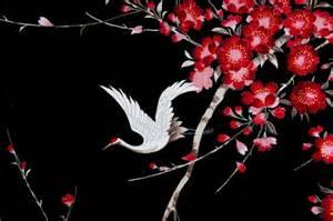 Painting Upholstery Fabric Crane Sakura Cherry Blossom Fabric Cotton Black White Bird