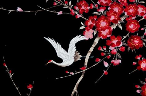 Cherry Blossom Tree Wall Sticker crane sakura cherry blossom fabric cotton black white bird