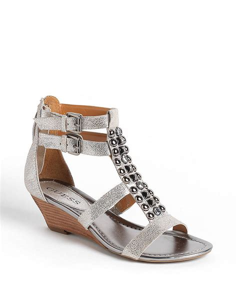 silver sandal wedges guess aliano embellished leather wedge sandals in silver