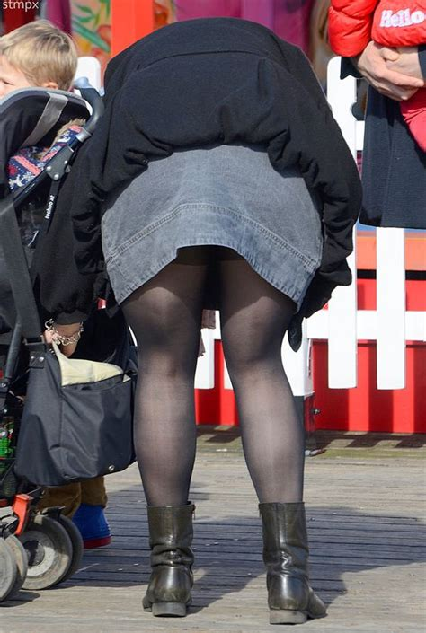 mom bent over skirt oops a young mom in a short skirt dark tights and cute