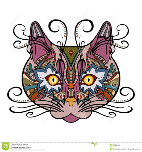 tribal cat stock image image vector tribal decorative cat stock vector image 51409602
