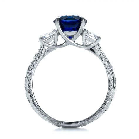 custom blue sapphire and anniversary ring 100603