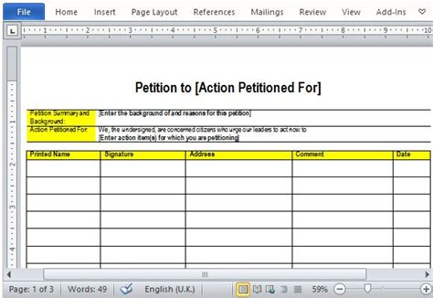 Best Free Petition Templates For Word Community Petition Template