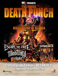 what xm station plays five finger death punch five finger death punch to play bossier city s centurylink