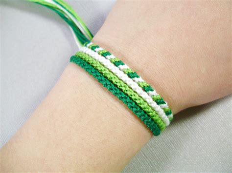 Handmade Thread Bracelets - green friendship bracelet set four handmade bracelets
