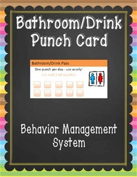 bathroom pass punch card bathroom pass punch card by falling for 1st teachers pay
