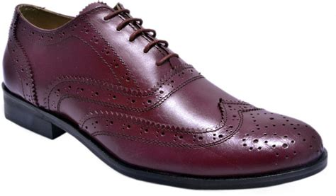 Brogues Maroon 100 Genuine Leather hirel s mens cherry brogues lace up shoes for buy
