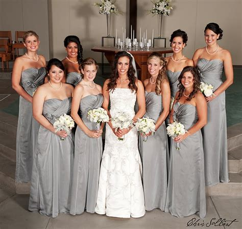 Silver Bridesmaid Dress by Yes I Do Silver Glossy Bridesmaid Dresses
