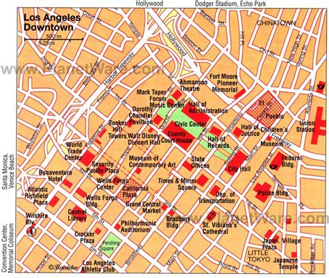 map of los angeles hotels 16 top tourist attractions in los angeles planetware