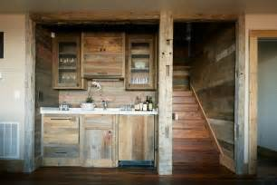 Rustic Basement Bar Kitchen Rustic With Reclaimed Wood