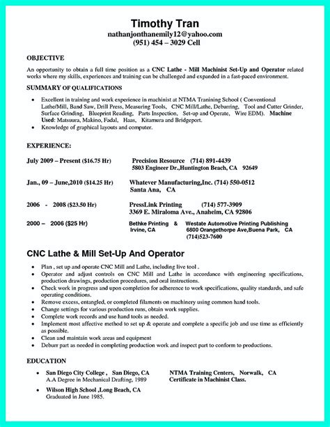 Cnc Machinist Cover Letter by Writing Your Qualifications In Cnc Machinist Resume A Must