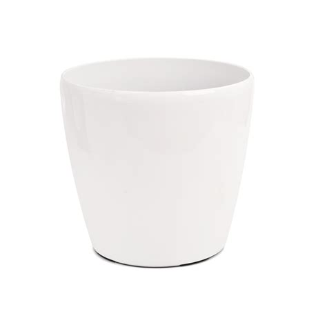 white pot eden 18cm premium cache white self watering plastic pot